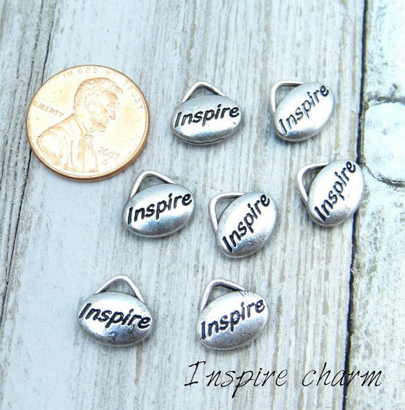 12 pc Inspire charm, inspire, word charms. Alloy charm ,very high quality.Perfect for jewery making and other DIY projects
