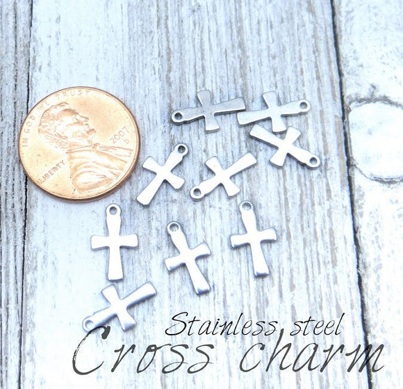 12 pc Cross charm, cross charms, cross, steel charm 10mm very high quality..Perfect for jewery making and other DIY projects