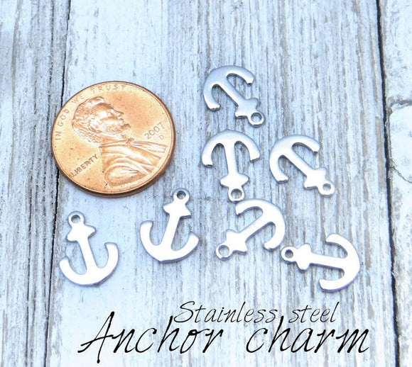 12 pc Anchor charm, anchor charms, nautical, steel charm 10mm very high quality..Perfect for jewery making and other DIY projects
