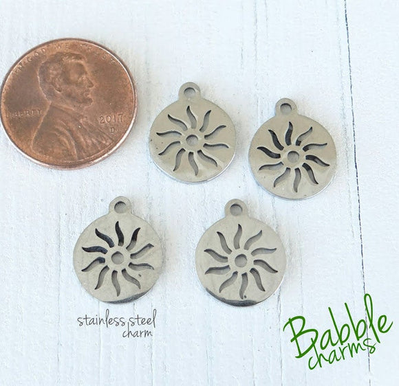 12 pc Sun, sun charm. stainless steel charm ,very high quality.Perfect for jewery making and other DIY projects