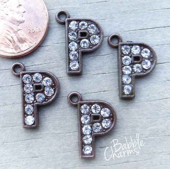 Initial charm. P letter charm, rhinestone initial. Alloy charm ,very high quality.Perfect for jewery making and other DIY projects