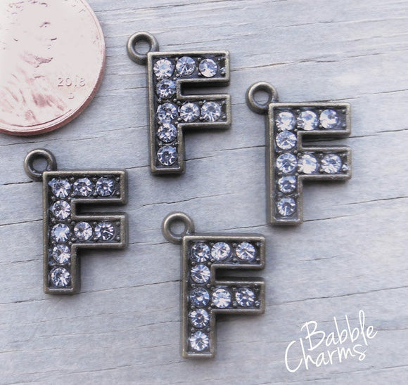 Initial charm. F letter charm, rhinestone initial. Alloy charm ,very high quality.Perfect for jewery making and other DIY projects