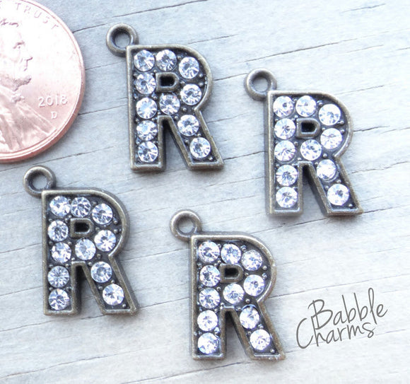 Initial charm. R letter charm, rhinestone initial. Alloy charm ,very high quality.Perfect for jewery making and other DIY projects