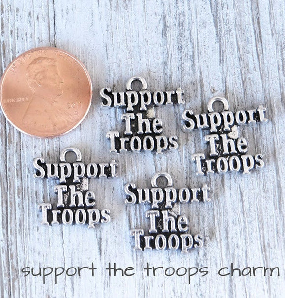 12 pc Support the Troops, troops, military support, charms. Alloy charm ,very high quality.Perfect for jewery making and other DIY projects