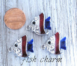 12 pc Fish, fish charm, animal charms. Alloy charm ,very high quality.Perfect for jewery making and other DIY projects