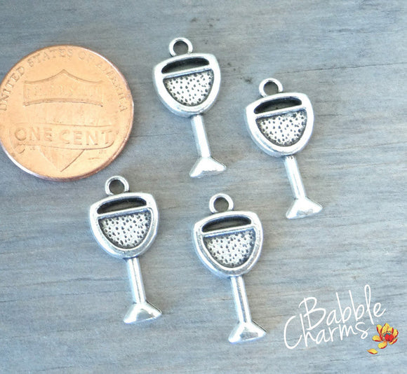 12 pc Wine glass, wine glass charm, glass, cup. Alloy charm very high quality.Perfect for jewery making and other DIY projects