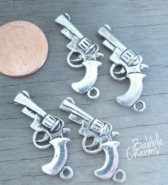 12 pc Gun charm, revolver charm, pistol charm. Alloy charm, very high quality.Perfect for jewery making and other DIY projects