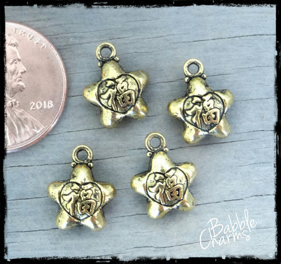 12 pc Star, star charm. Alloy charm, very high quality.Perfect for jewery making and other DIY projects