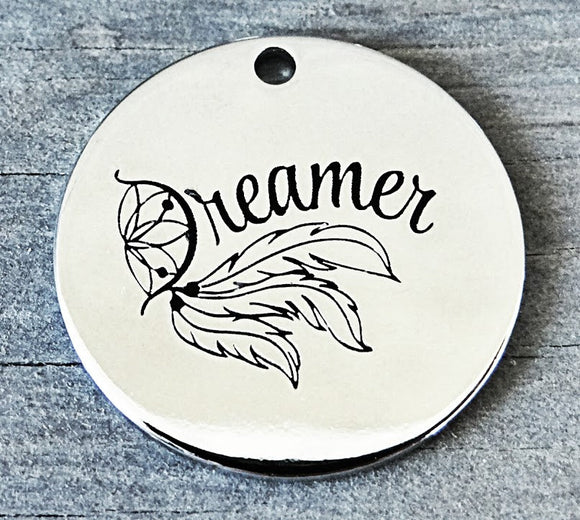 Dreamer charm, dream, dream catcher charm, Alloy charm 20mm very high quality..Perfect for DIY projects #106