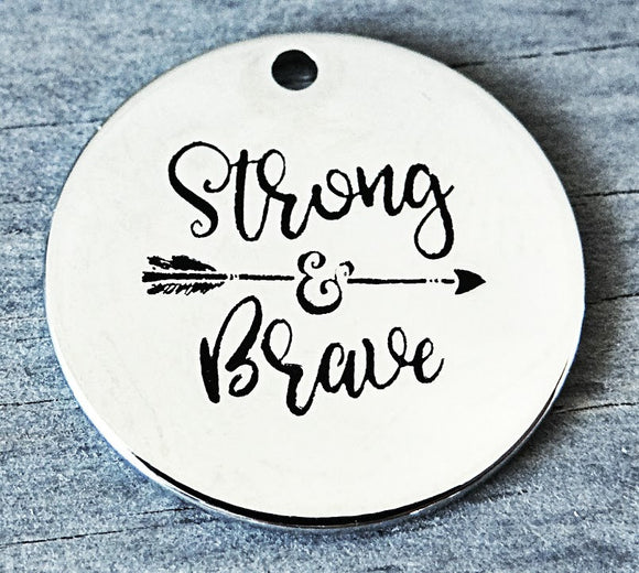 Stonr and brave, strong and brave charm, boho arrow charm, Alloy charm 20mm very high quality..Perfect for DIY projects