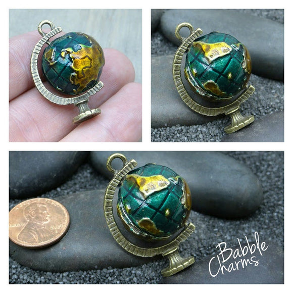 Globe charm, globe, world, Enamel charm. Alloy charm, very high quality.Perfect for jewery making and other DIY projects