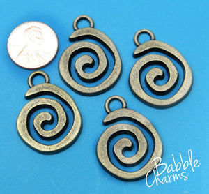 12 pc Spiral charm, swirl, swirl charm, bronze charm. Alloy charm, very high quality.Perfect for jewery making and other DIY projects