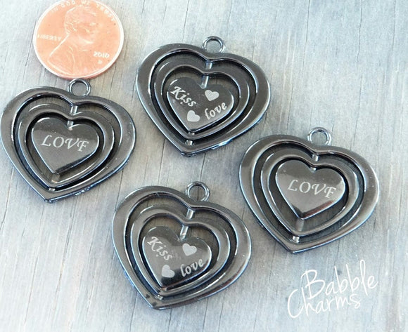 Hematite Heart charm, heart charm, hematite, high quality..Perfect for jewery making and other DIY projects
