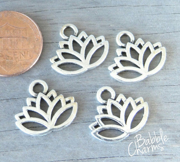 12 pc Lotus , Lotus Flower charm, flower charms. Alloy charm ,very high quality.Perfect for jewery making and other DIY projects