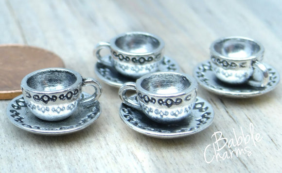 12 pc Tea cup, tea cup charm, tea cups charm. Alloy charm ,very high quality.Perfect for jewery making and other DIY projects