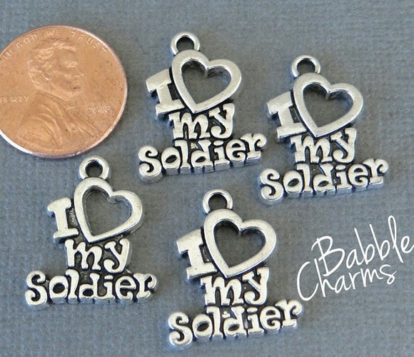 12 pc I love my Soldier charm, soldier charm, military. Alloy charm, very high quality.Perfect for jewery making and other DIY projects