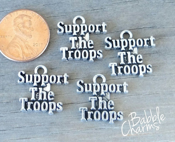 12 pc Support the Troops charm, soldier charm, military charm. Alloy, very high quality.Perfect for jewery making and other DIY projects