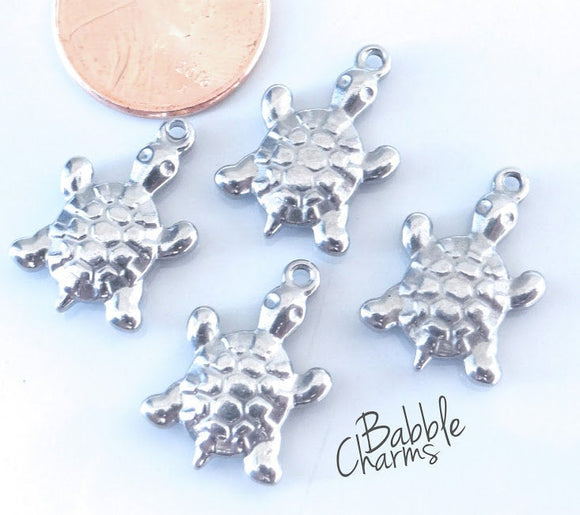 12 pc Turtle charm, turtle, i love turtles, Charms, wholesale charm, stainless steel charm