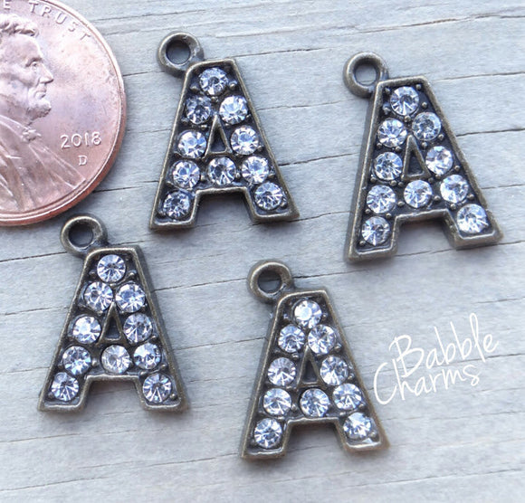 Initial charm. A letter charm, rhinestone initial. Alloy charm ,very high quality.Perfect for jewery making and other DIY projects