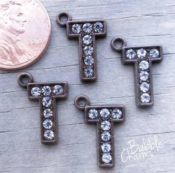 Initial charm. T letter charm, rhinestone initial. Alloy charm ,very high quality.Perfect for jewery making and other DIY projects