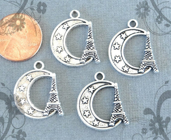 12 pc Moon, moon charm, moon charms. paris charm ,very high quality.Perfect for jewery making and other DIY projects