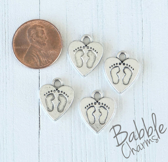 12 pc Baby Feet charm, heart charm, baby feet heart charm. Alloy charm, very high quality.Perfect for jewery making and other DIY projects