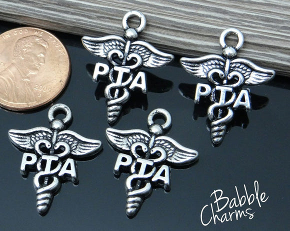 12 pc PTA charm, physical therapist aide, PTA, Charms, wholesale charm, alloy charm
