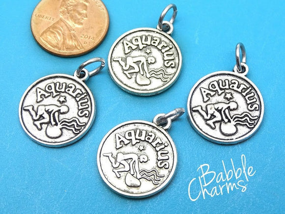 Aquarius charm, astrological sign charm, zodiac, alloy charm 20mm very high quality..Perfect for jewery making and other DIY projects
