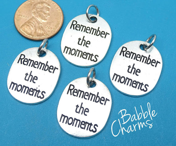 2 pc Remember the moments charm, remember the moments, alloy charm 20mm very high quality..Perfect for jewery making and other DIY projects