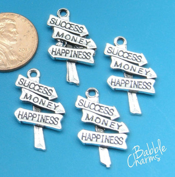 12 pc Success, Money , happiness, happiness charm, Charms, wholesale charm, alloy charm