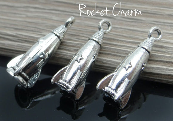 12 pc Rocket, Rocket charm,  space rocket charm, Alloy charm very high quality..Perfect for jewery making and other DIY projects