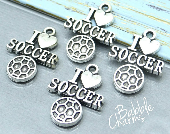 12 pc I love Soccer charm, soccer Charm, soccer, Charms, wholesale charm, alloy charm