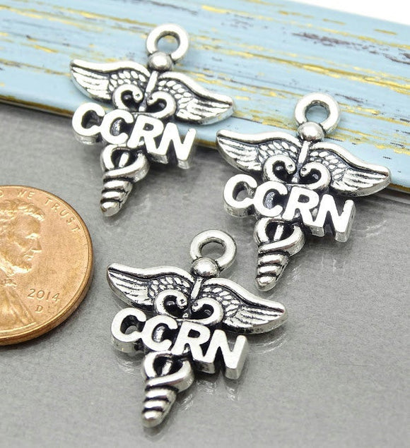 12 pc CCRN charm, nursing, CCRN, Charms, wholesale charm, alloy charm