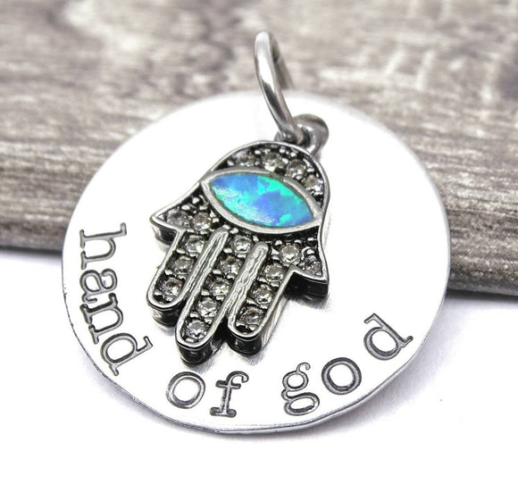 Hand of God charm, opal charm, hand of God, blue opal, steel charm 20mm very high quality..Perfect for jewery making and other DIY projects