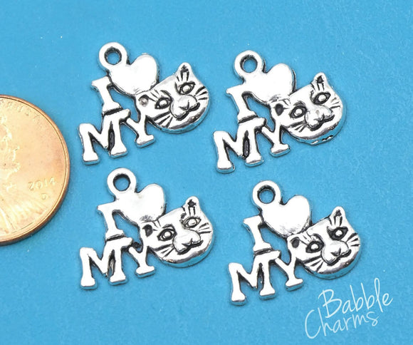 12 pc I love my Cat charm, cat. feline, Alloy charm,very high quality.Perfect for jewery making and other DIY projects