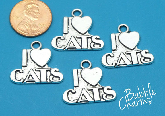 12 pc I love Cats charm, cat. feline, Alloy charm,very high quality.Perfect for jewery making and other DIY projects