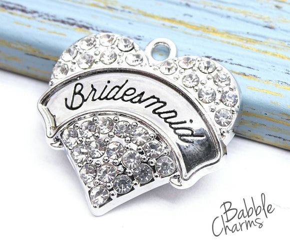 Bridesmaid charm, CZ charm, stainless steel, cubic zirconium high quality..Perfect for jewery making and other DIY projects