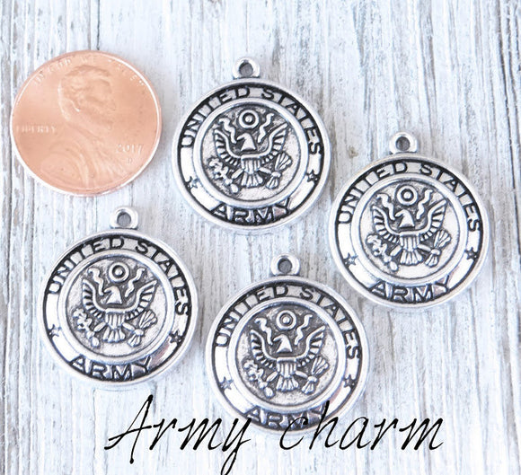 12 pc Army charm, army, military, military charm. Alloy charm, very high quality.Perfect for jewery making and other DIY projects