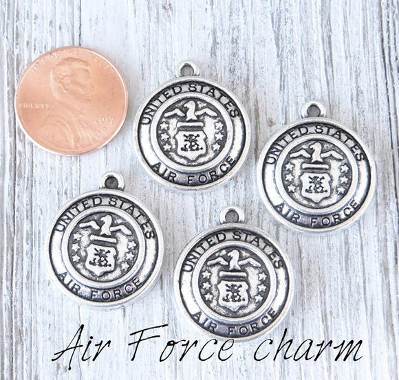 12 pc Air Force charm, air force, military charm. Alloy charm, very high quality.Perfect for jewery making and other DIY projects