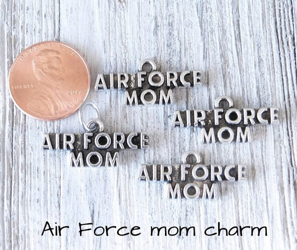 12 pc Air Force Mom charm, air force mom, military mom. Alloy charm, very high quality.Perfect for jewery making and other DIY projects