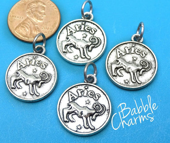 Aries charm, astrological sign charm, zodiac, alloy charm 20mm very high quality..Perfect for jewery making and other DIY projects