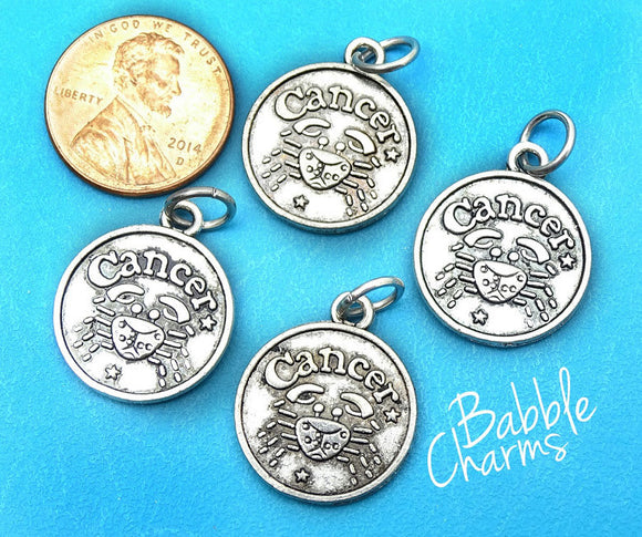 Cancer charm, astrological sign charm, zodiac, alloy charm 20mm very high quality..Perfect for jewery making and other DIY projects