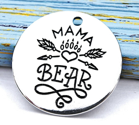 Mama bear, mama bear charm, stainless steel charm 20mm very high quality..Perfect for DIY projects #213