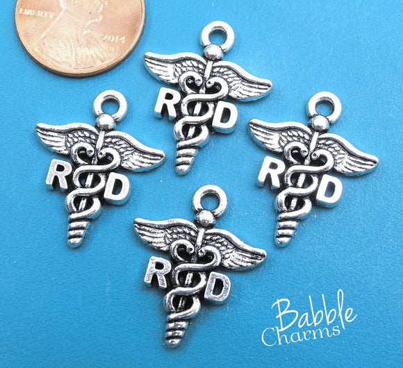 12 pc RD charm, Registered Dietitian charm, RD Charms, wholesale charm, alloy charm