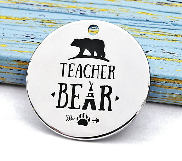 Teacher bear, bear charm, teacher bear char, boho charm, Alloy charm 20mm high quality. Perfect for jewery making and other DIY projects 226