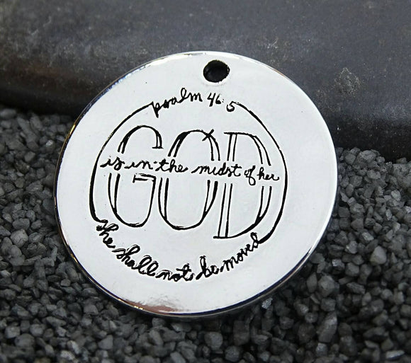Scripture charm, Psalms, God charm. Alloy charm 20mm high quality. Perfect for jewery making and other DIY projects 231