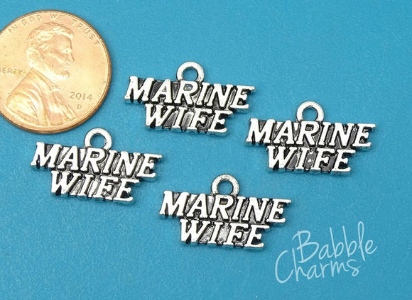 12 pc Marine wife charm, Marine wife, Marine, military. Alloy charm, very high quality.Perfect for jewery making and other DIY projects