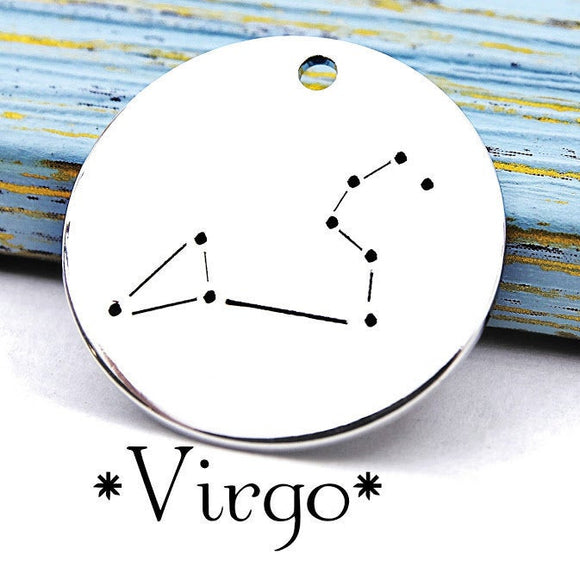 Virgo charm, constellation, astrology charm, Alloy charm 20mm very high quality..Perfect for DIY projects