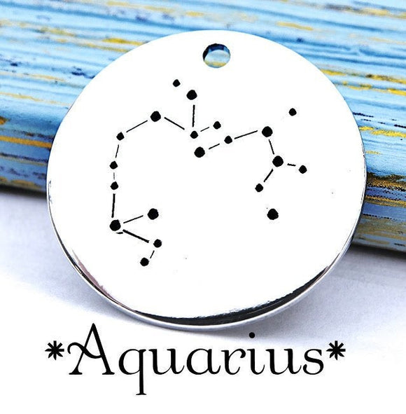 Aquarius charm, constellation, astrology charm, Alloy charm 20mm very high quality..Perfect for DIY projects
