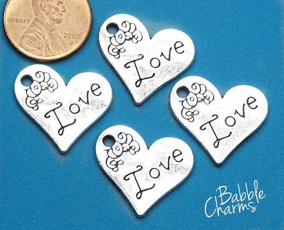 12 pc Love heart charm, heart charm, heart , love charm. Alloy charm, very high quality.Perfect for jewery making and other DIY projects